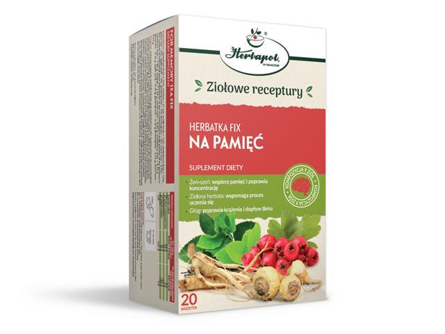 Herbatka fix Na Pamięć interakcje ulotka herbata  20 sasz. po 2 g