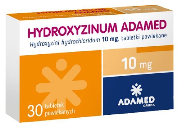 Hydroxyzinum Adamed interakcje ulotka tabletki powlekane 0,01 g 30 tabl.