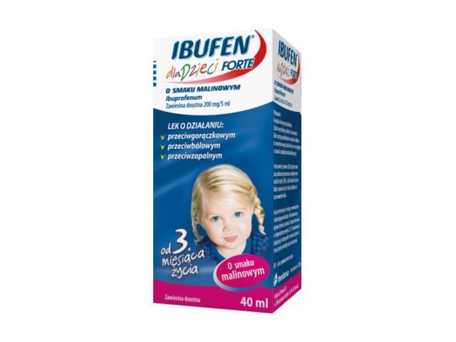 Ibufen dla dzieci FORTE o smaku malinowym (Ibufen) interakcje ulotka zawiesina doustna 0,2 g/5ml 40 ml