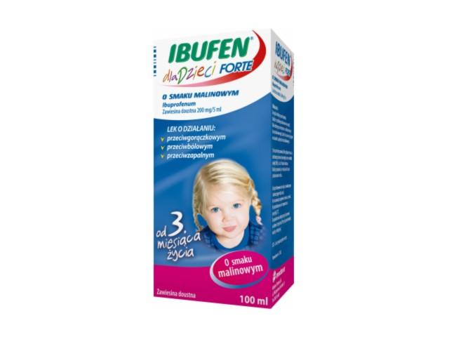Ibufen dla dzieci FORTE o smaku malinowym interakcje ulotka zawiesina doustna 0,2 g/5ml 100 ml