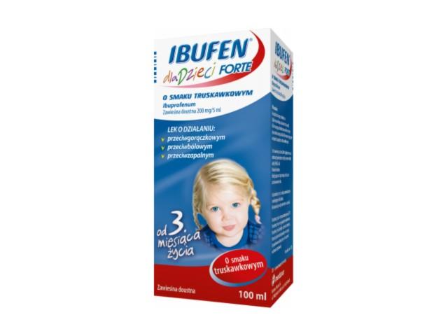 Ibufen dla dzieci Forte sm.truskawka interakcje ulotka zawiesina doustna 0,2 g/5ml 100 ml