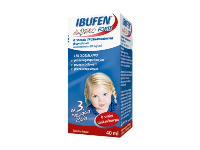 Ibufen dla dzieci Forte sm.truskawka interakcje ulotka zawiesina doustna 0,2 g/5ml 40 ml