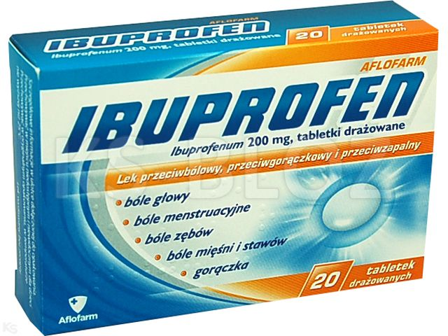 Ibuprofen Aflofarm interakcje ulotka tabletki drażowane 0,2 g 20 tabl.