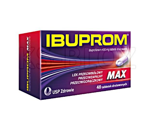 Ibuprom MAX interakcje ulotka tabletki drażowane 0,4 g 48 tabl.