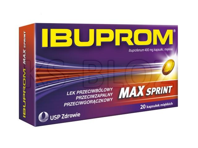 Ibuprom MAX Sprint interakcje ulotka kapsułki miękkie 0,4 g 20 kaps.