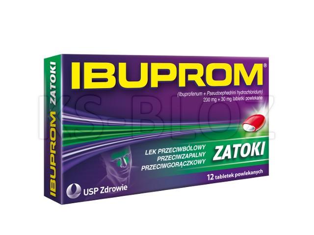 Ibuprom Zatoki interakcje ulotka tabletki powlekane 0,2g+0,03g 12 tabl.