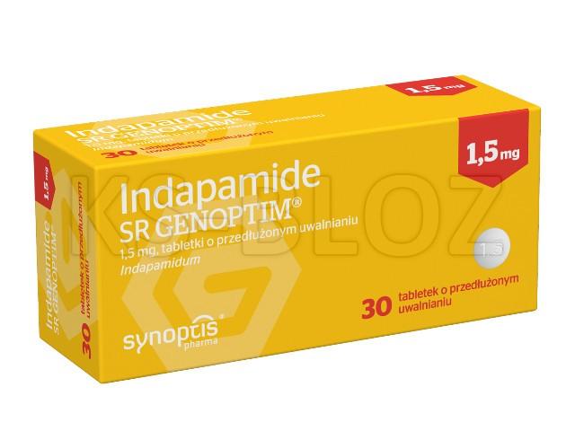 Indapamide SR Genoptim interakcje ulotka tabletki o przedłużonym uwalnianiu 1,5 mg 30 tabl.