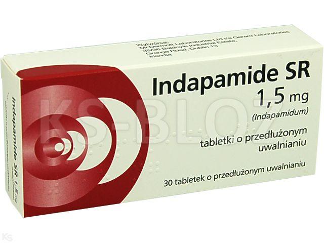 Indapamide SR interakcje ulotka tabletki o przedłużonym uwalnianiu 1,5 mg 30 tabl.