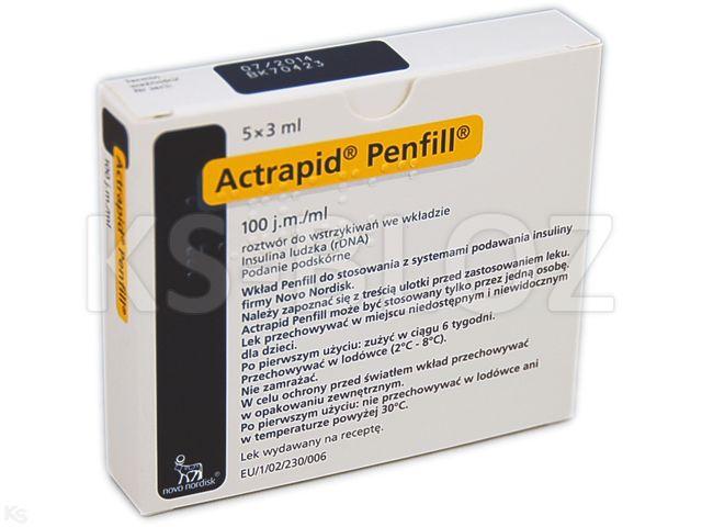 Ins. Actrapid Penfill interakcje ulotka roztwór do wstrzyknięć insulin 100 j.m./ml 5 wkł. po 3 ml