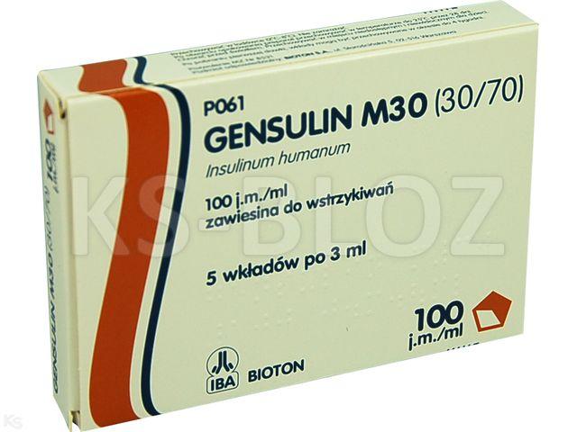 Ins. Gensulin M30 (30/70) interakcje ulotka zawiesina do wstrzykiwań 100 j.m./ml 5 wkł. po 3 ml
