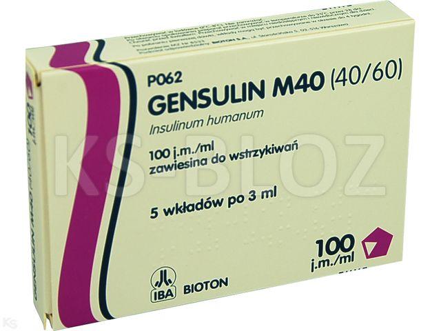 Ins. Gensulin M40 (40/60) interakcje ulotka zawiesina do wstrzykiwań 100 j.m./ml 5 wkł. po 3 ml