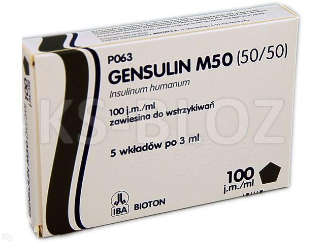 Ins. Gensulin M50 (50/50) interakcje ulotka zawiesina do wstrzykiwań 100 j.m./ml 5 wkł. po 3 ml