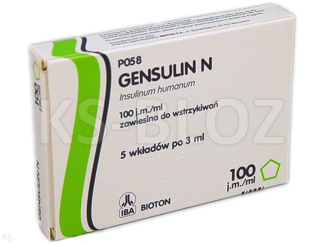 Ins. Gensulin N interakcje ulotka zawiesina do wstrzykiwań 100 j.m./ml 5 wkł. po 3 ml