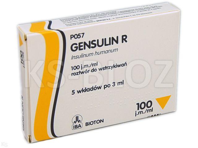 Ins. Gensulin R interakcje ulotka roztwór do wstrzykiwań 100 j.m./ml 5 wkł. po 3 ml