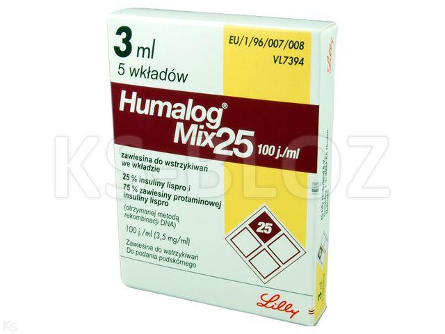 Ins. Humalog Mix 25 interakcje ulotka zawiesina do wstrzykiwań 100 j.m./ml 5 wkł. po 3 ml