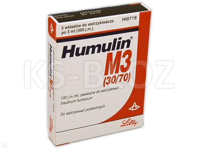 Ins. Humulin M3 (30/70) interakcje ulotka zawiesina do wstrzykiwań 100 j.m./ml 5 wkł. po 3 ml
