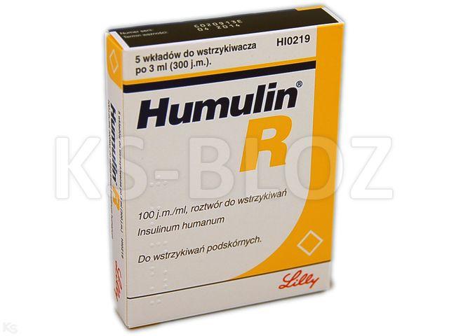 Ins. Humulin R interakcje ulotka roztwór do wstrzykiwań 100 j.m./ml 5 wkł. po 3 ml