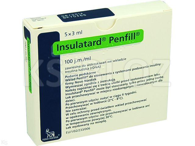 Ins. Insulatard Penfill interakcje ulotka zawiesina do wstrzykiwań 100 j.m./ml 5 wkł. po 3 ml
