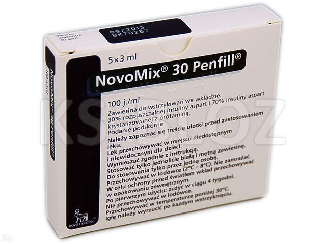Ins. NovoMix 30 Penfill interakcje ulotka zawiesina do wstrzykiwań 100 j.m./ml 5 wkł. po 3 ml