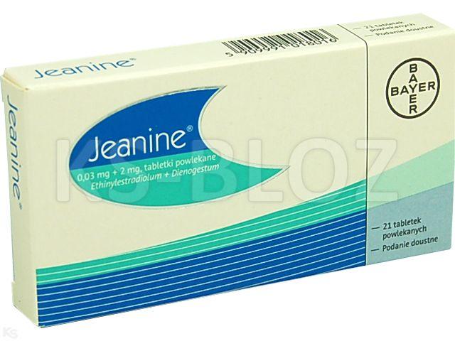 Jeanine interakcje ulotka tabletki powlekane 0,03mg+2mg 21 tabl.