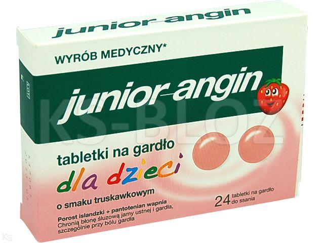 Junior-angin na gardło d/dzieci truskaw. interakcje ulotka tabletki  24 tabl.