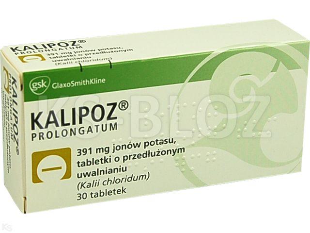 Kalipoz prolongatum interakcje ulotka tabletki o przedłużonym uwalnianiu 0,391 g K+ 30 tabl.
