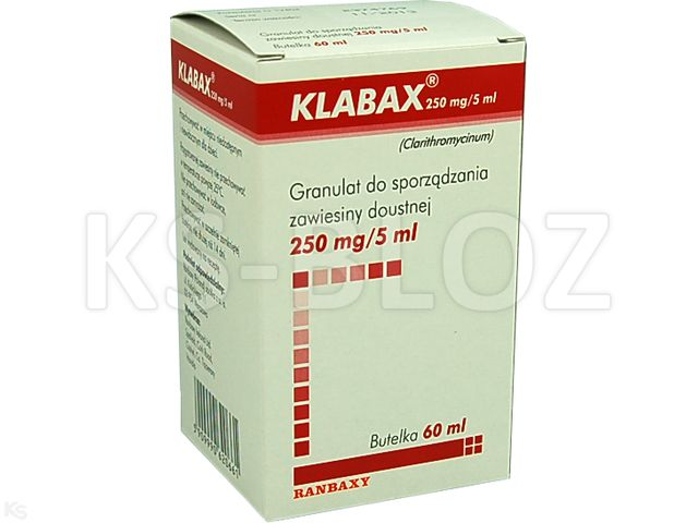 Klabax 250mg/5ml interakcje ulotka granulat do przygotowania zawiesiny doustnej 0,25 g/5ml 60 ml