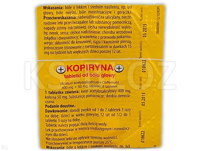 Kopiryna - tabletki od bólu głowy interakcje ulotka tabletki 0,4g+0,05g 6 tabl.