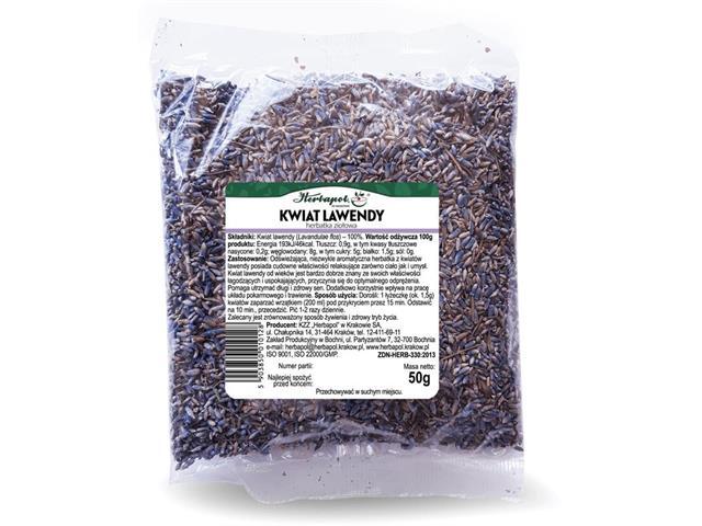 Kwiat Lawendy Herbatka ziołowa interakcje ulotka zioła do zaparzania  50 g