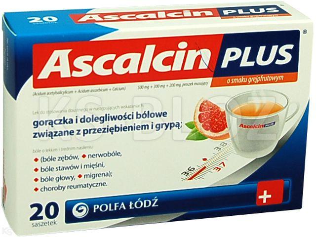 Laboratoria PolfaŁódź PRZEZIĘBIENIE I GRYPA (Ascalcin Plus o smaku grejpfrut.) interakcje ulotka proszek musujący 0,5g+0,3g+0,2g 20 szt.