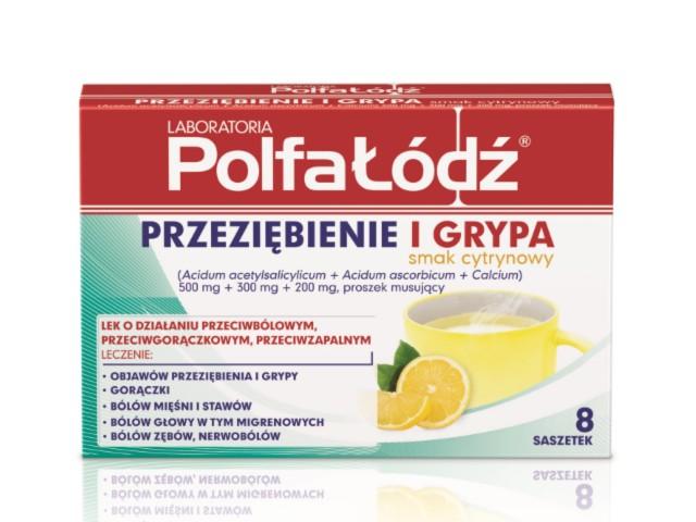 Laboratoria PolfaŁódź PRZEZIĘBIENIE I GRYPA smak cytrynowy interakcje ulotka proszek musujący 0,5g+0,3g+0,2g 8 sasz.