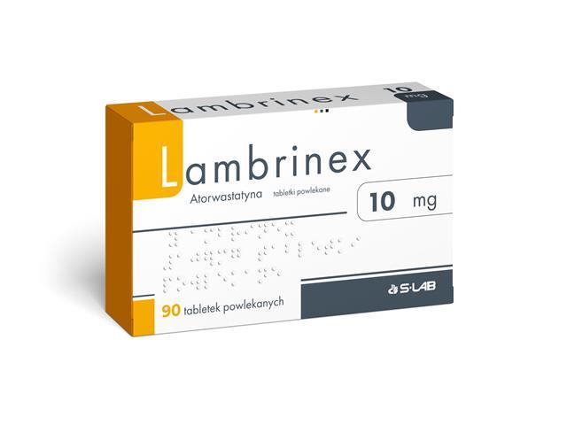 Lambrinex interakcje ulotka tabletki powlekane 0,01 g 90 tabl.