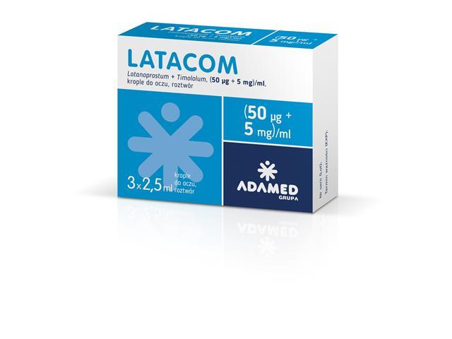 Latacom interakcje ulotka krople do oczu, roztwór (0,05mg+5mg)/ml 3 but. po 2.5 ml