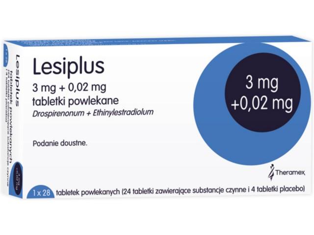 Lesiplus interakcje ulotka tabletki powlekane 0,02mg+3mg 28 tabl.