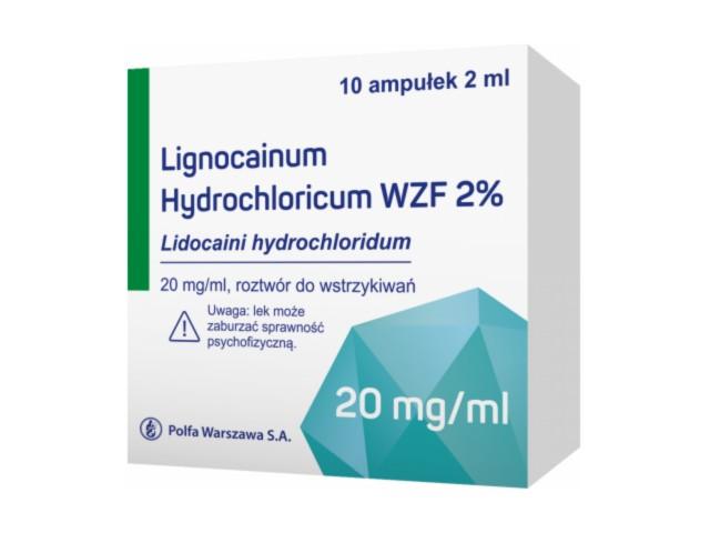 Lignocainum hydrochloric. WZF 2% interakcje ulotka roztwór do wstrzykiwań 0,02 g/ml 10 amp. po 2 ml