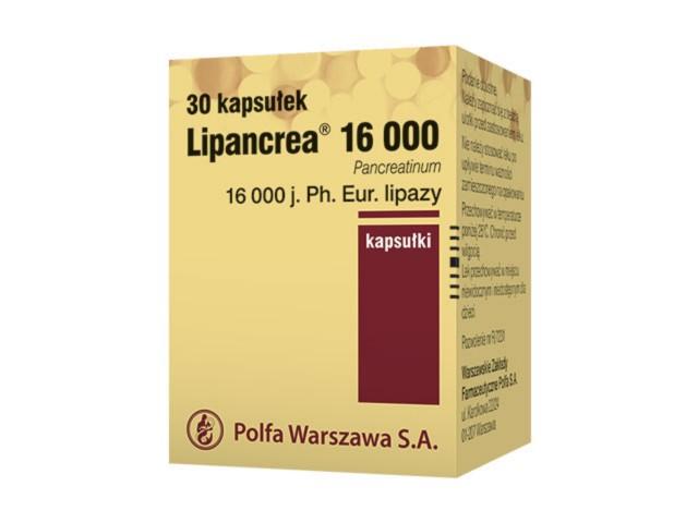 Lipancrea 16 000 interakcje ulotka kapsułki 16 000 j. Ph.Eur. 30 kaps.