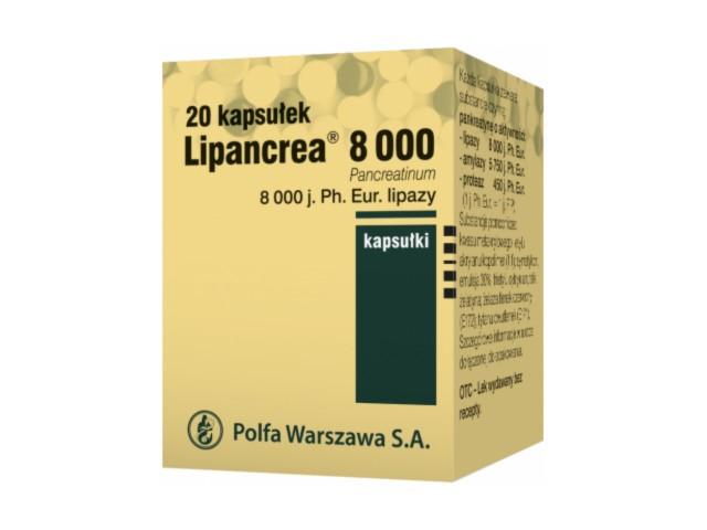 Lipancrea 8000 interakcje ulotka kapsułki 8 000 j. Ph.Eur. 20 kaps.