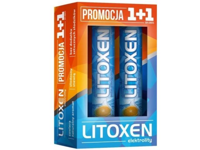 Litoxen 1+1 Zestaw promocyjny interakcje ulotka tabletki musujące  40 tabl.
