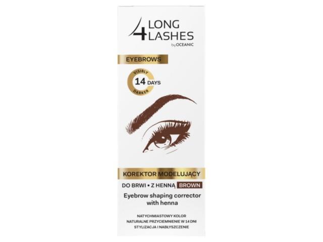 LONG 4 LASHES Korektor modelujący do brwi z henną brown interakcje ulotka płyn  10 ml