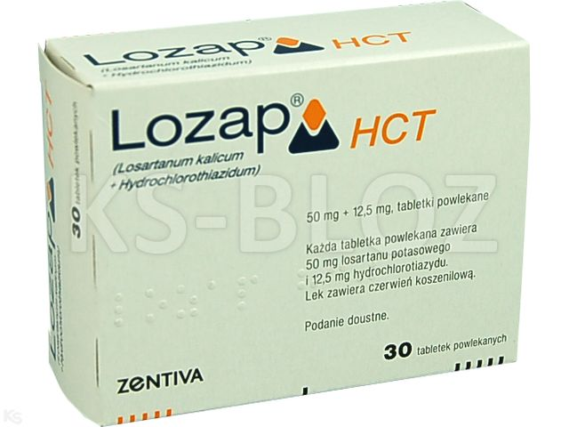 Lozap HCT interakcje ulotka tabletki powlekane 0,05g+0,0125g 30 tabl.