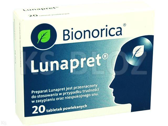 Lunapret interakcje ulotka tabletki powlekane 0,25g+0,06g 20 tabl.