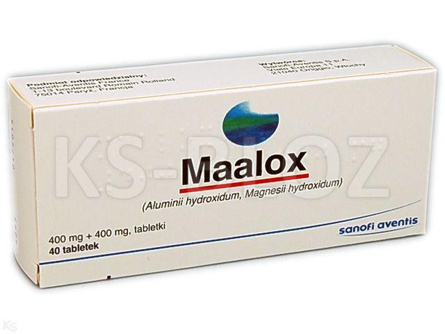Maalox interakcje ulotka tabletki 0,4g+0,4g 40 tabl.