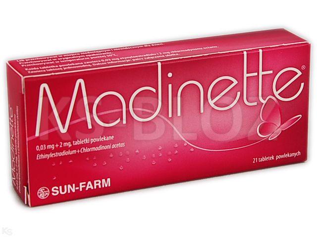 Madinette interakcje ulotka tabletki powlekane 0,03mg+2mg 21 tabl.