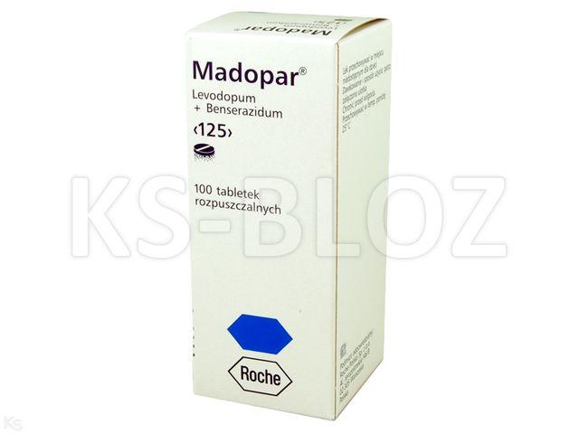 Madopar 125 interakcje ulotka tabletki do sporządzania zawiesiny doustnej 0,025g+0,1g 100 tabl.
