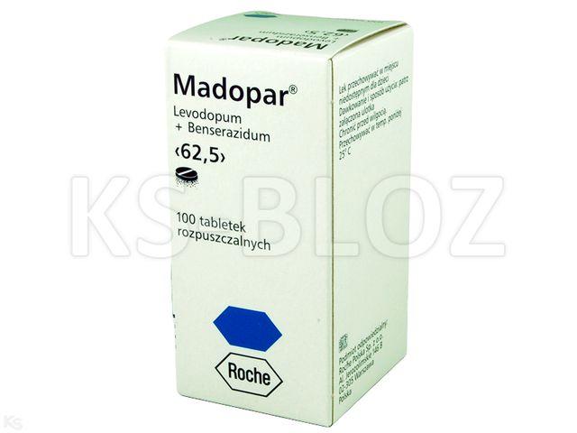 Madopar 62,5 interakcje ulotka tabletki do sporządzania zawiesiny doustnej 0,0125g+0,05g 100 tabl.