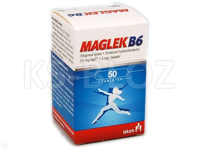 Maglek B6 interakcje ulotka tabletki 0,051g Mg+5mg Vit.B6 50 tabl.