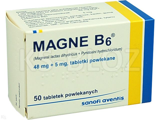 Magne B6 interakcje ulotka tabletki powlekane 0,048g Mg2++5mg 50 tabl.