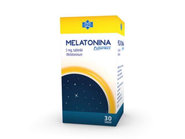 Melatonina Polfarmex interakcje ulotka tabletki 5 mg 30 tabl.