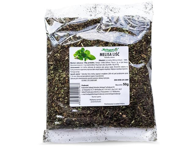 Melisa liść interakcje ulotka zioła do zaparzania  50 g