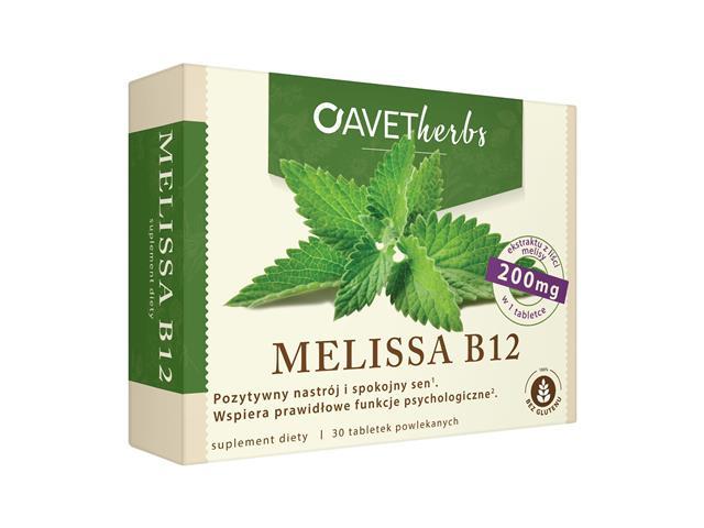 Melissa B12 Avet Herbs interakcje ulotka tabletki  30 tabl.